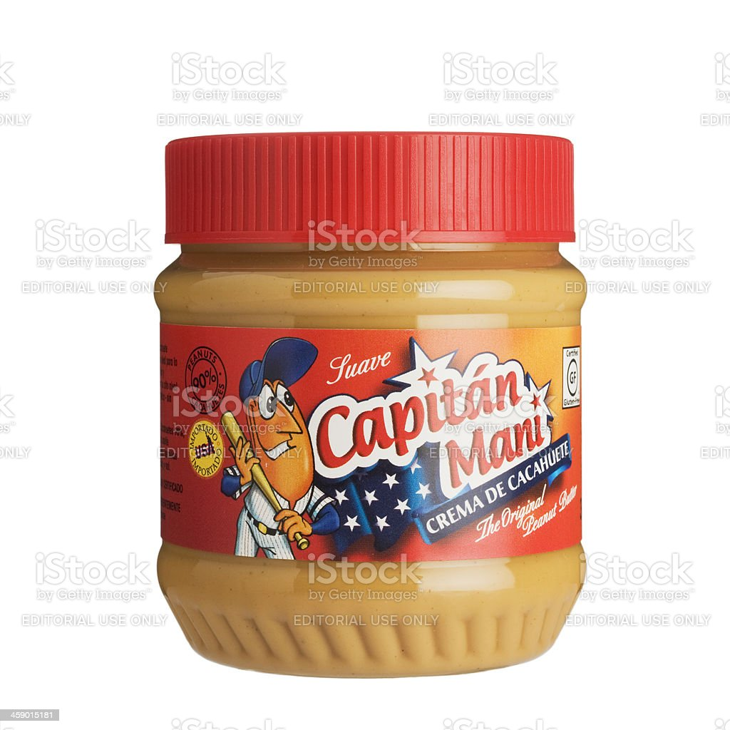 Capitan Many peanut butter jar isolated on white. royalty-free stock photo