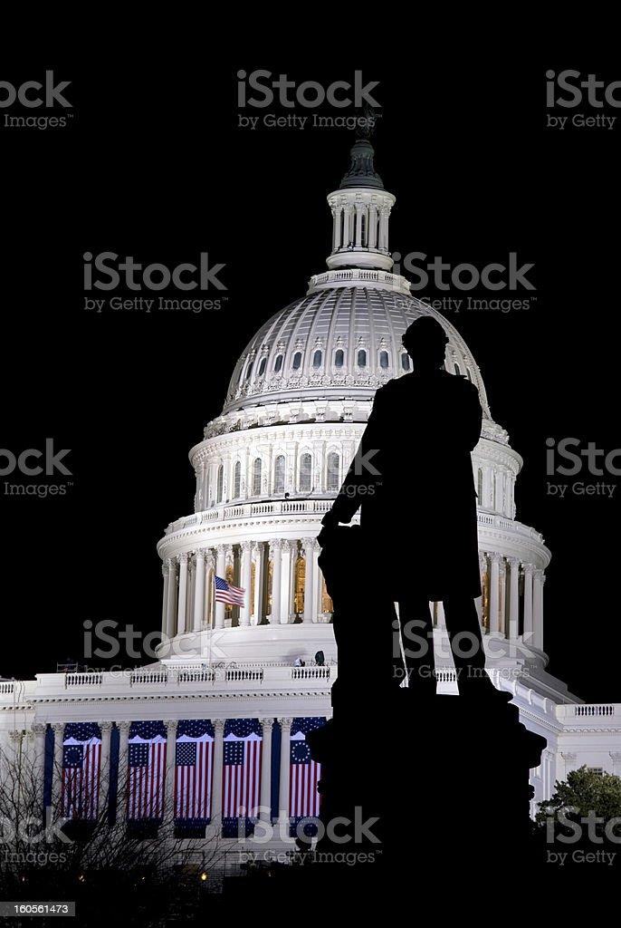 U.S. Capitol and Garfield statue stock photo