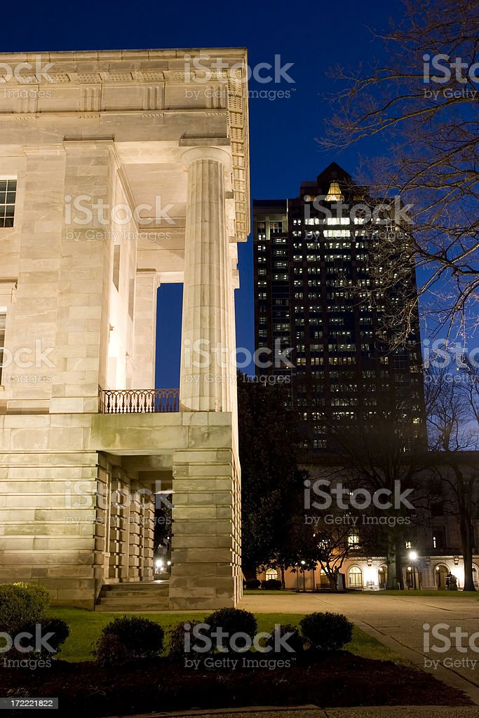 NC Capitol and Skyscraper at Dusk 02 royalty-free stock photo
