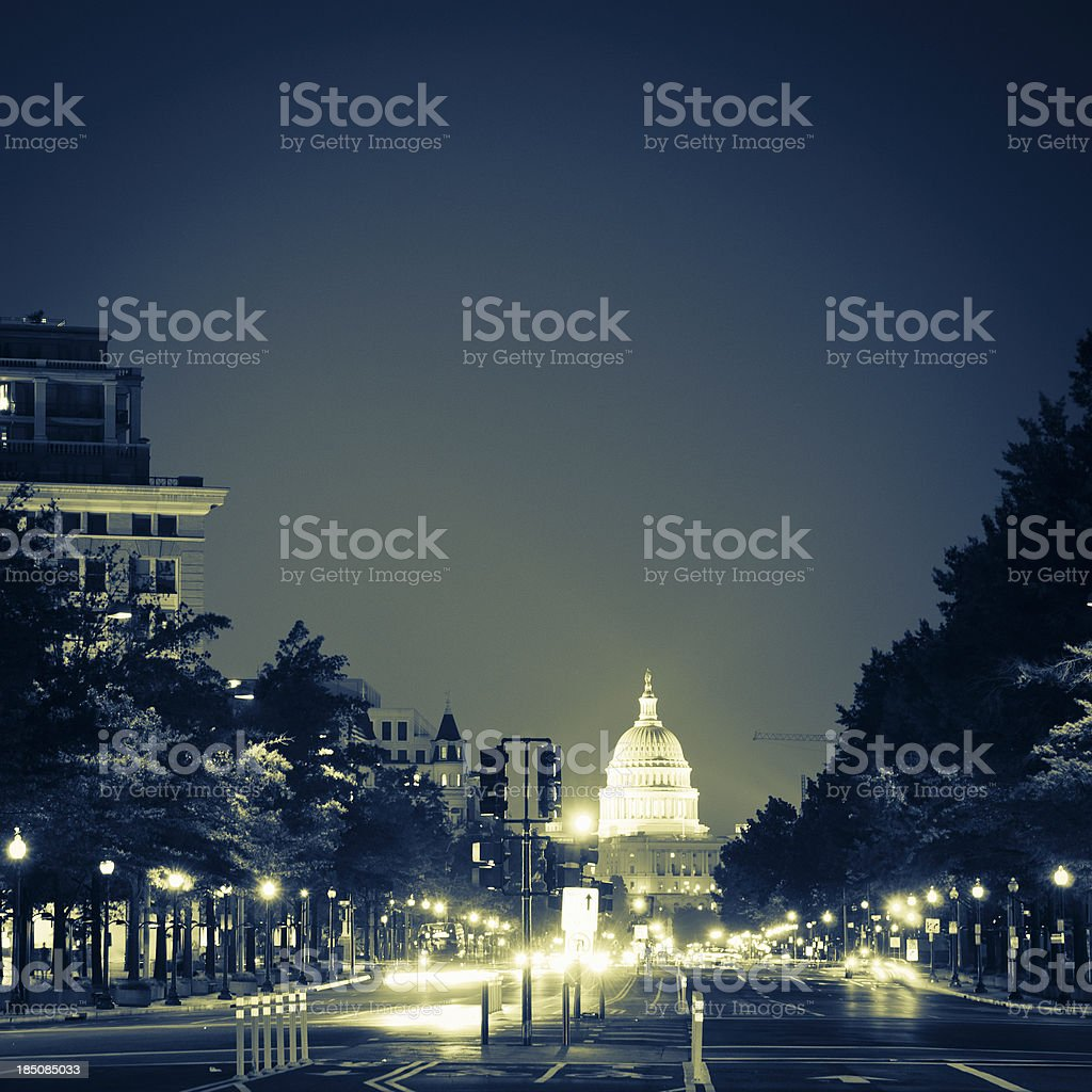 US Capitol and street light in Washington DC stock photo