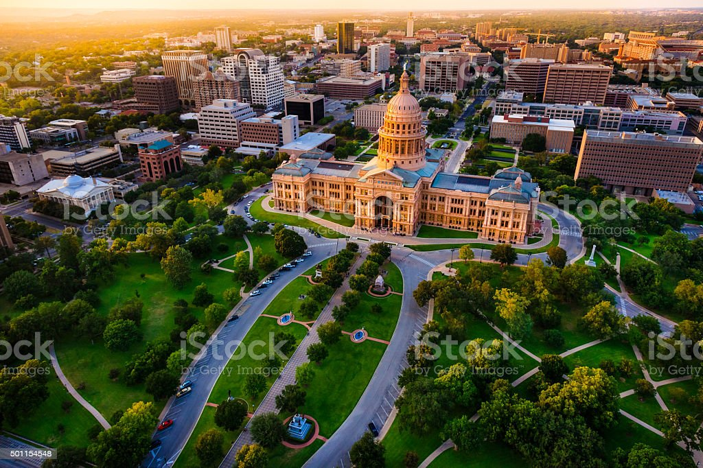 Capitol building, aerial skyline, sunset, Austin, TX,  Texas State Capital stock photo