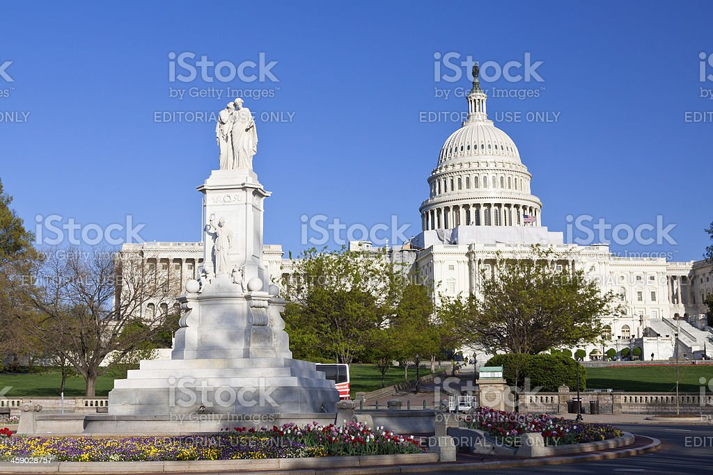 Capitol Building and Peace Monument, Washington DC. Clear blue sky. royalty-free stock photo