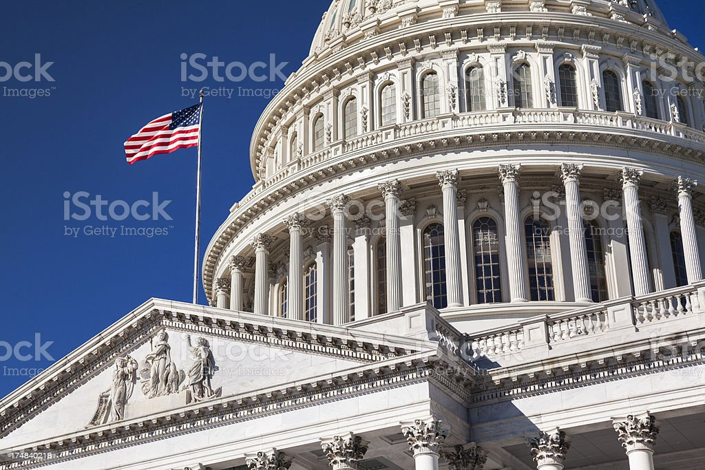 Capitol Building and the American Flag stock photo