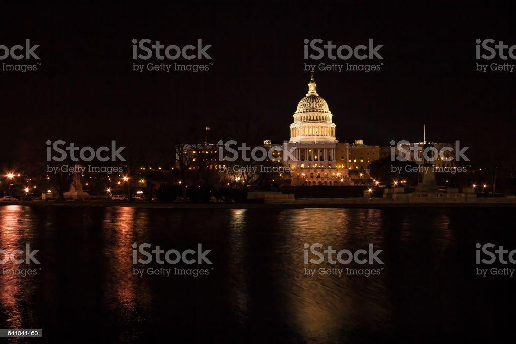 Capitol Building at Night, Washington DC, USA stock photo