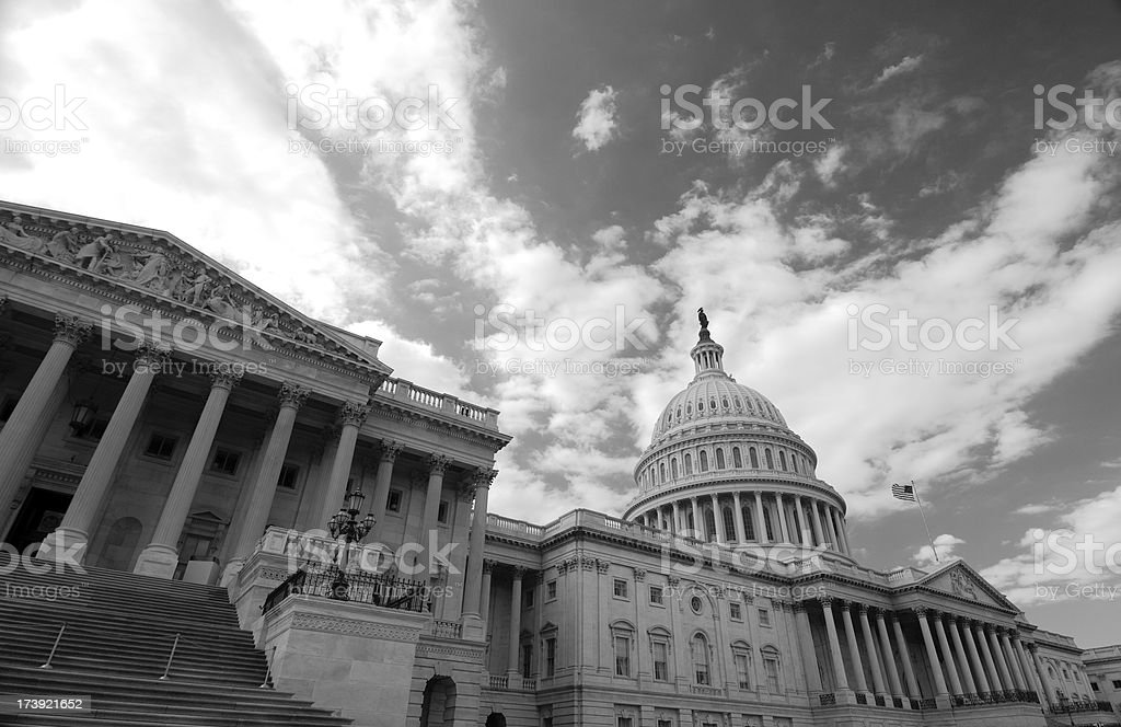 U.S. Capitol building, black and white royalty-free stock photo
