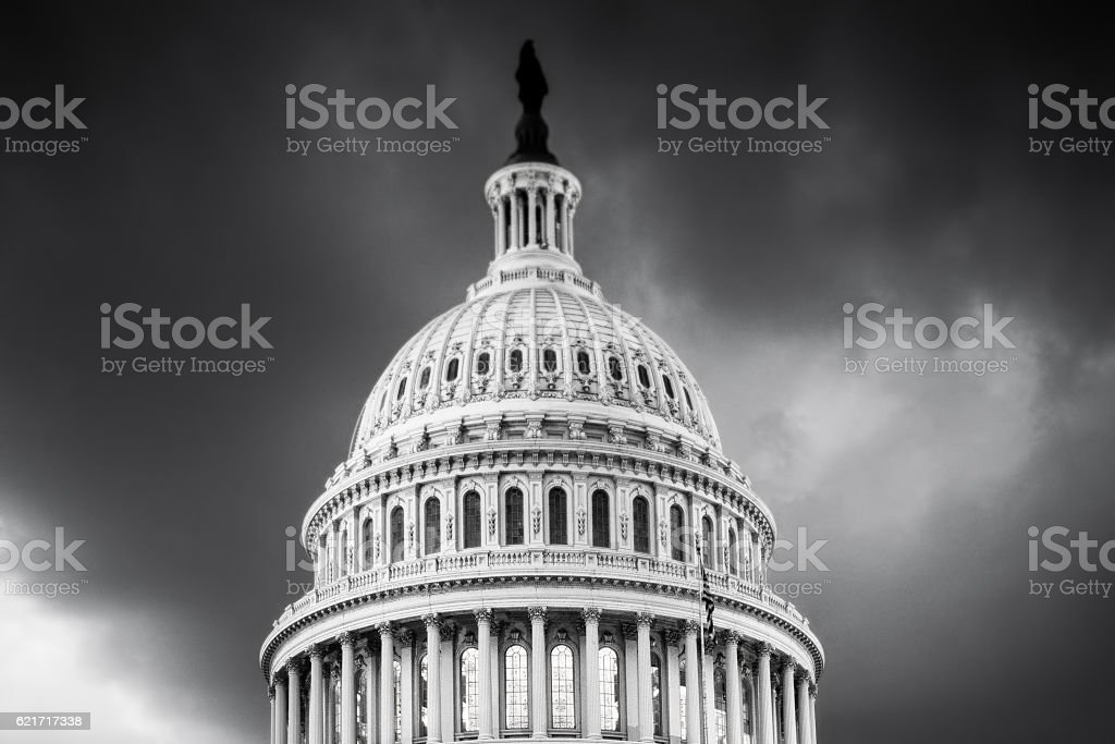 U.S. Capitol Building Black and White stock photo
