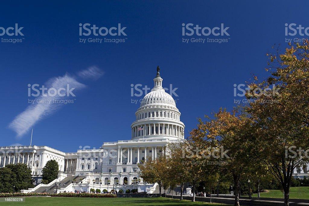 Capitol Building, Dome, Autumn Foliage Washington DC, Polarized Filter stock photo