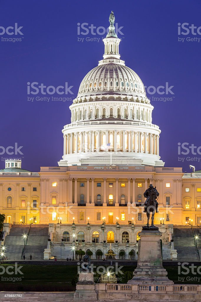 US Capitol Building dusk stock photo