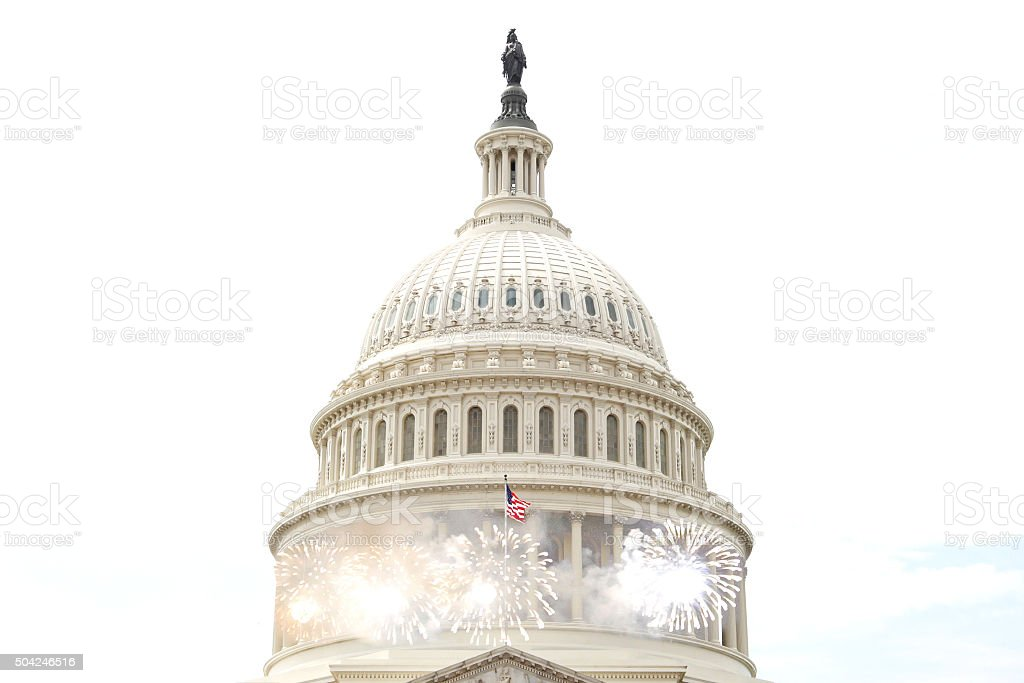 US Capitol Building Fireworks stock photo