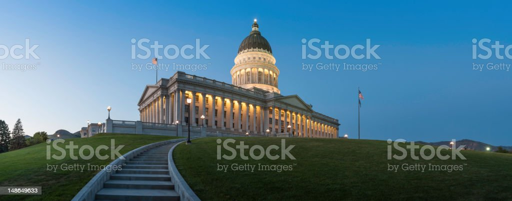 Capitol Building illuminated at dusk Salt Lake City Utah royalty-free stock photo