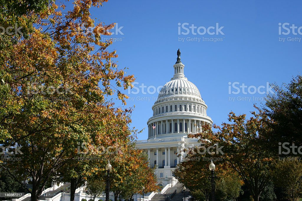US Capitol building in autumn royalty-free stock photo