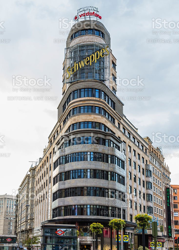 Capitol building in Gran Via Street, Madrid, Spain stock photo