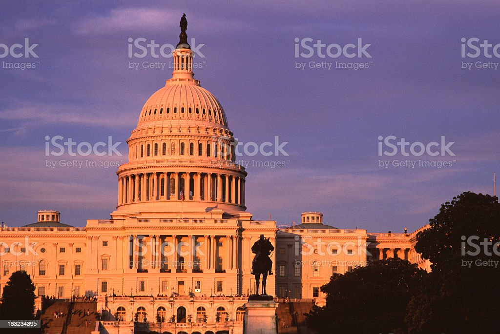 U S Capitol building in sunset light stock photo