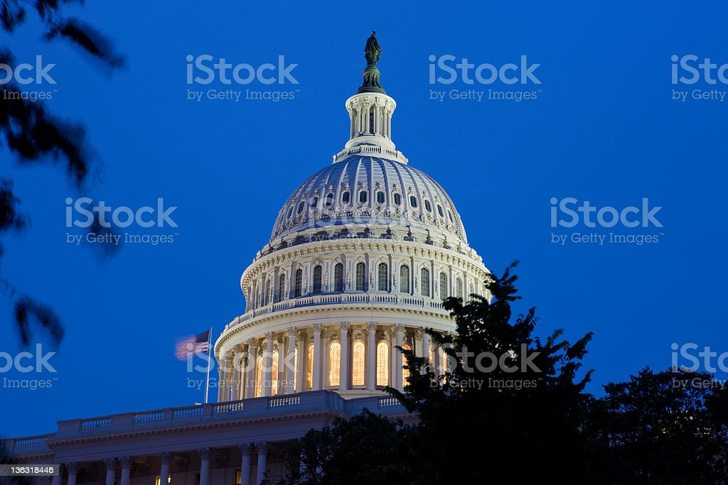 Capitol Building In Washington DC At Night royalty-free stock photo