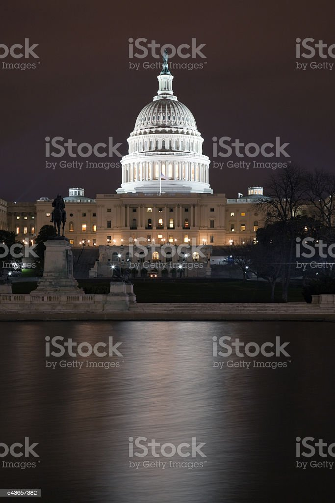 Capitol Building in Washington DC at Night stock photo