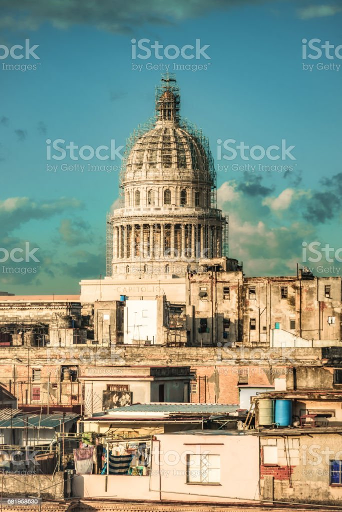 Capitol building over the roofs of Havanna stock photo