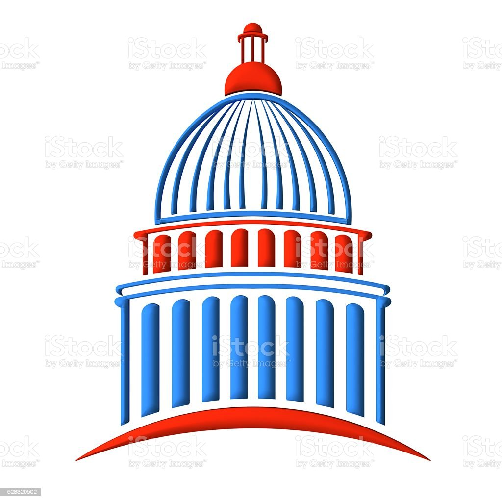 Capitol Building Red and Blue. 3D Rendering Illustration stock photo