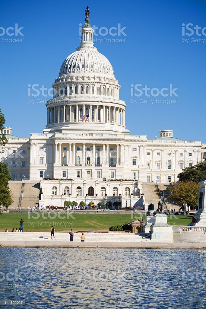 U.S. Capitol Building Reflecting Pool, Blue Sky, Washington DC USA royalty-free stock photo