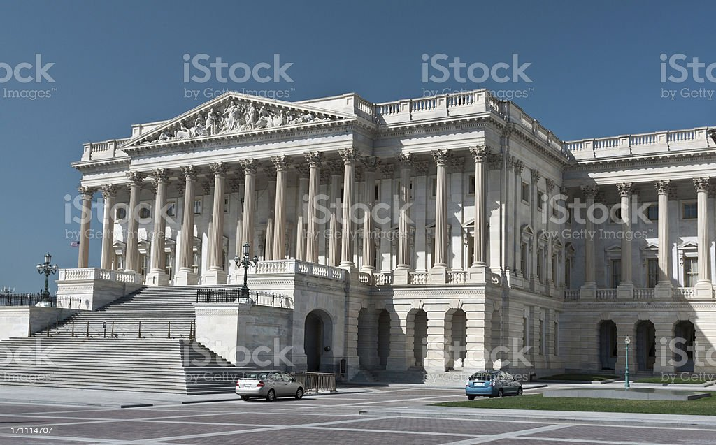 Capitol Building South wing (house wing), Washington DC. Blue sky. royalty-free stock photo