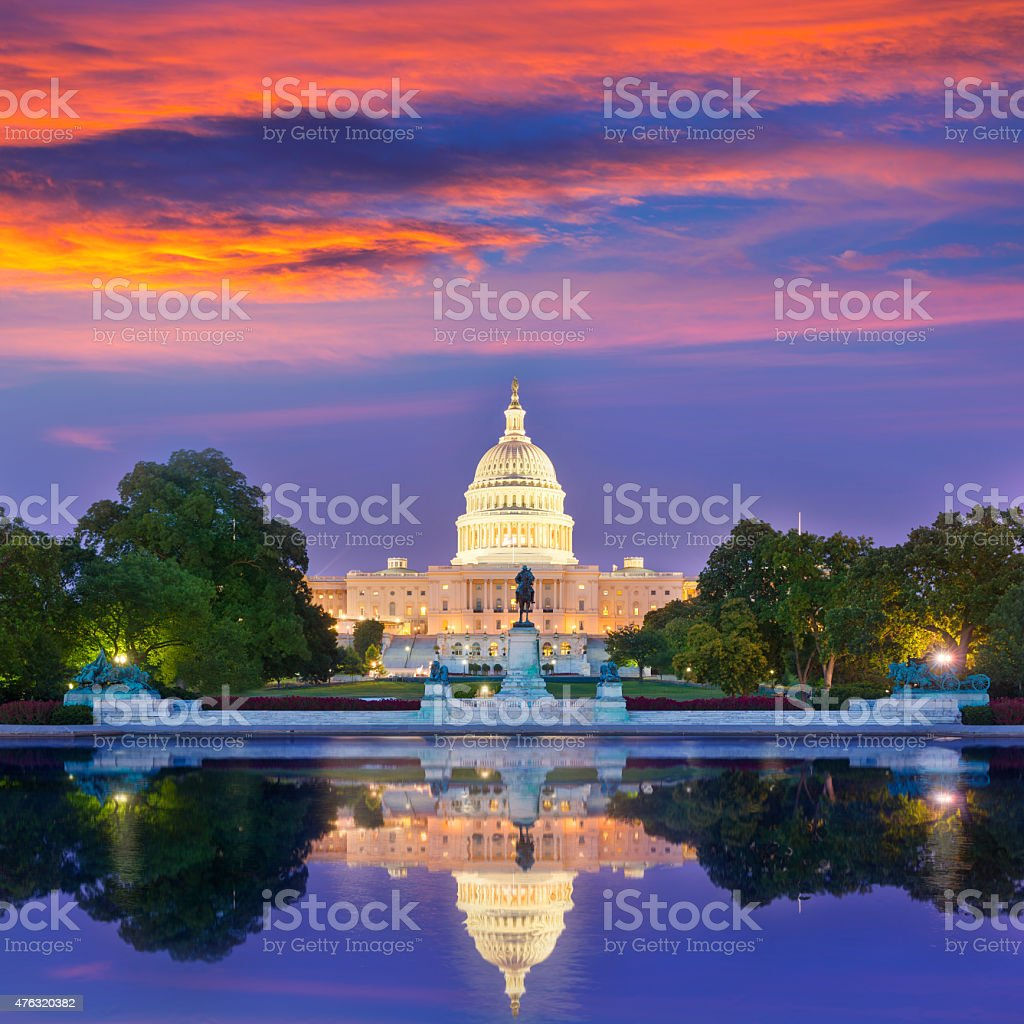 Capitol building sunset Washington DC congress stock photo