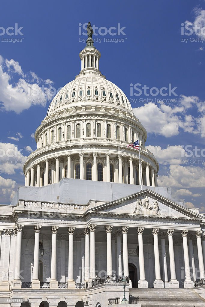 Capitol Building, Washington DC. Clear blue sky, clouds. royalty-free stock photo