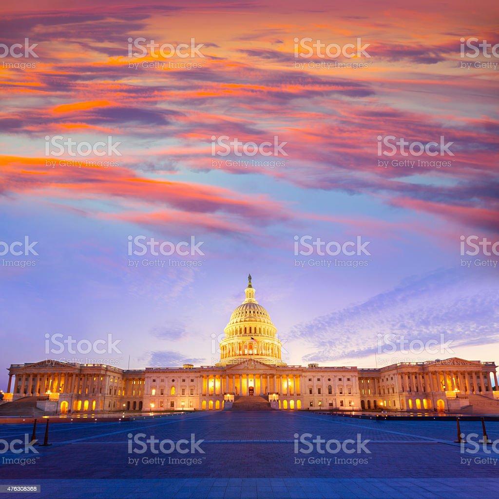 Capitol building Washington DC sunset US congress stock photo