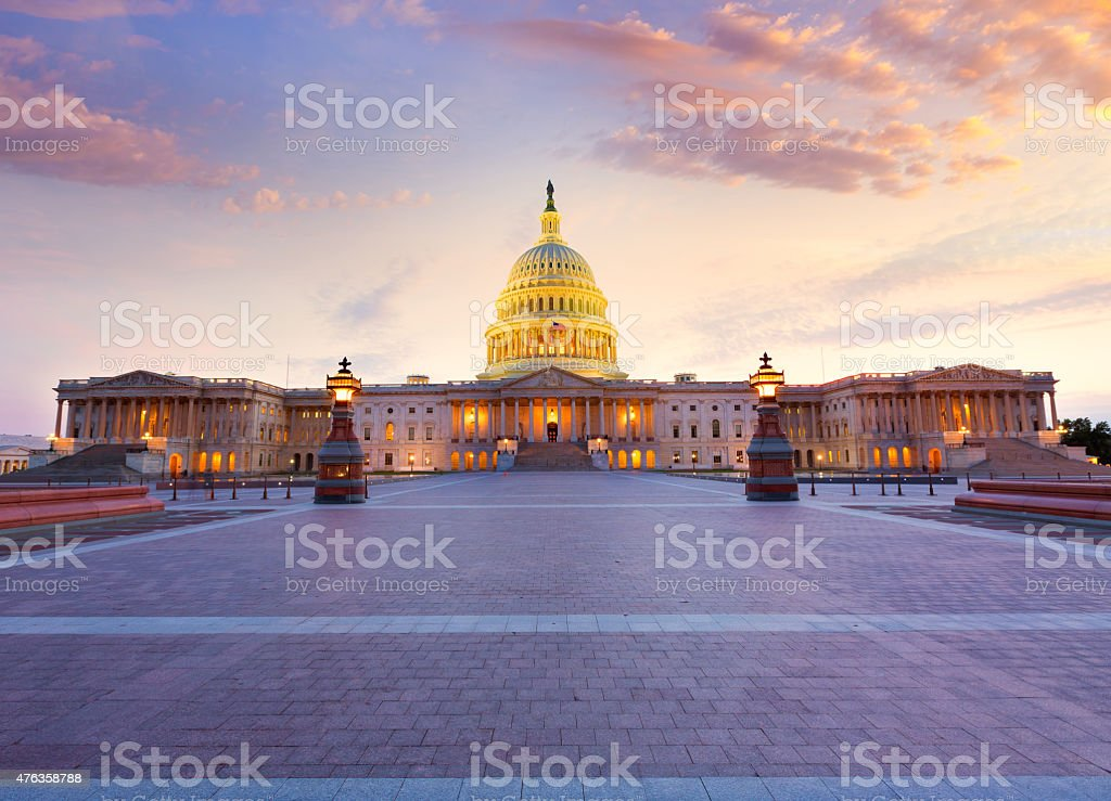 Capitol building Washington DC sunset US congress stock photo