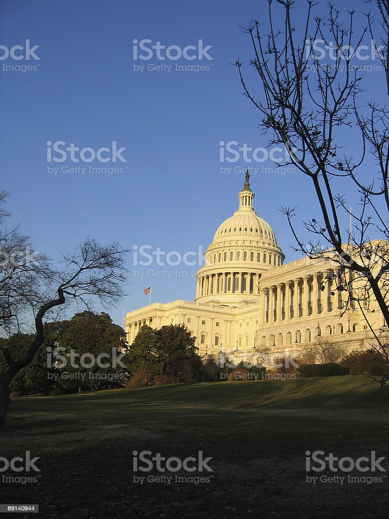 capitol building with flag royalty-free stock photo