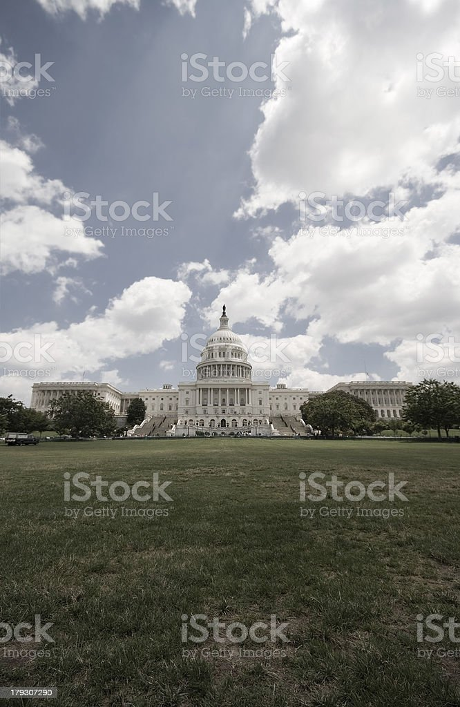 US Capitol Building With Ray of LIght Shining Down stock photo