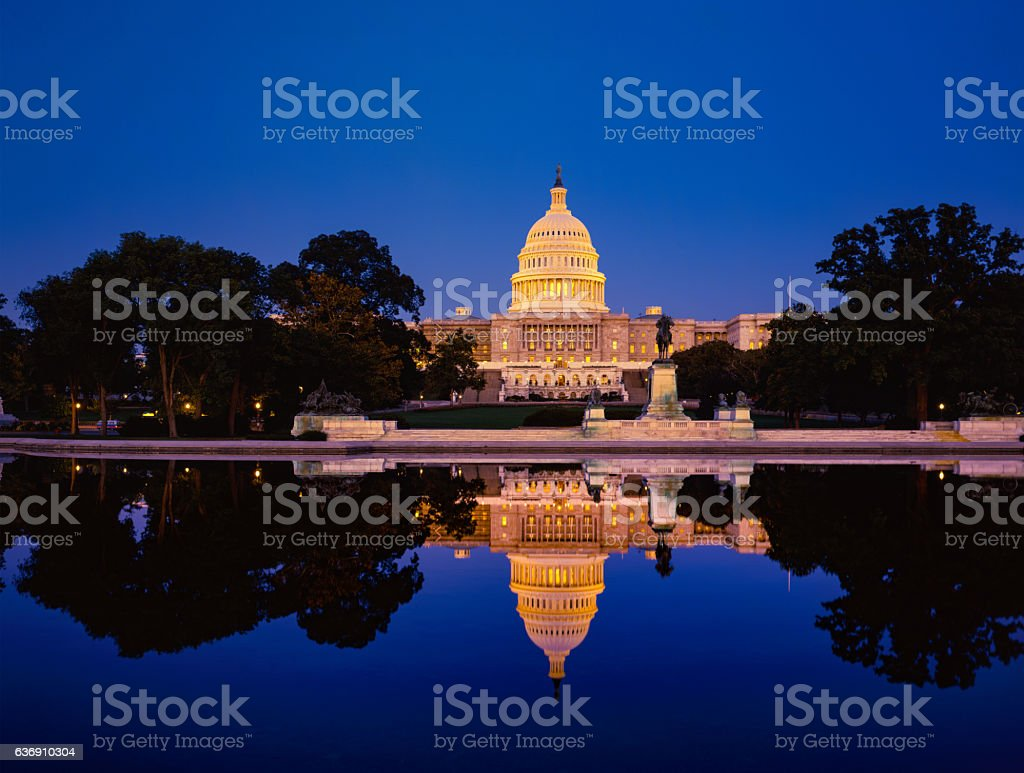 Capitol building with reflections Washingtom DC, USA stock photo