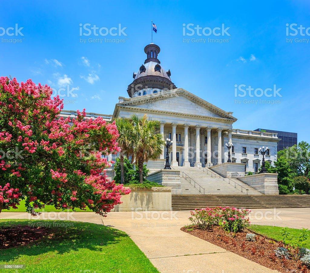 Capitol Builiding, Columbia South Carolina State House, springtime crepe myrtle stock photo