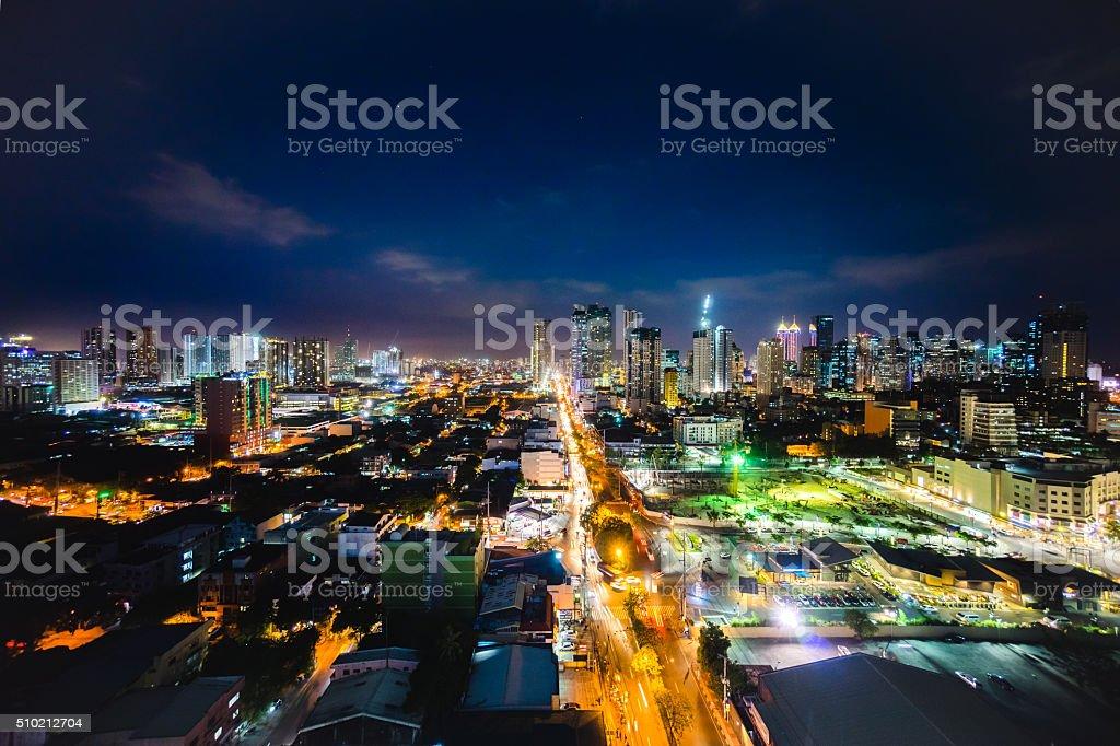 Capitol Commons at night in Pasig, Metro Manila stock photo