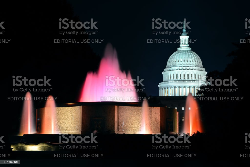 U.S. Capitol Dome at Night stock photo