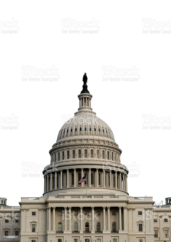 DC Capitol Dome- Isolated White royalty-free stock photo