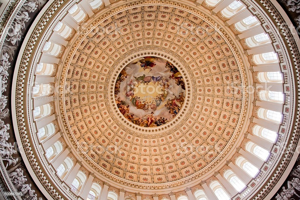 US Capitol Dome Rotunda Apothesis George Washington DC stock photo