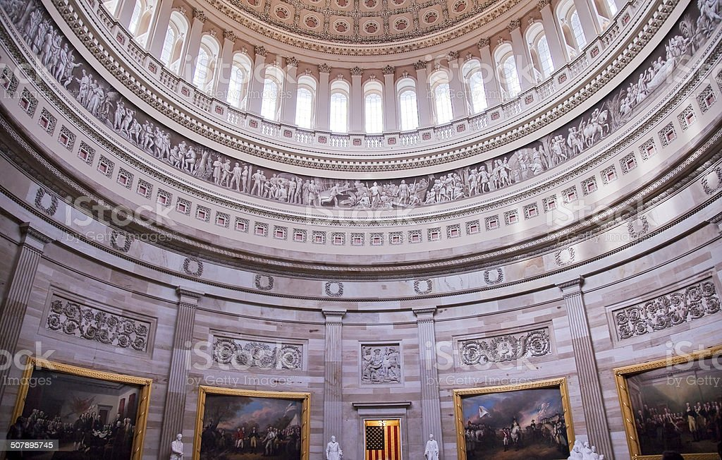 US Capitol Dome Rotunda Paintings Washington DC stock photo