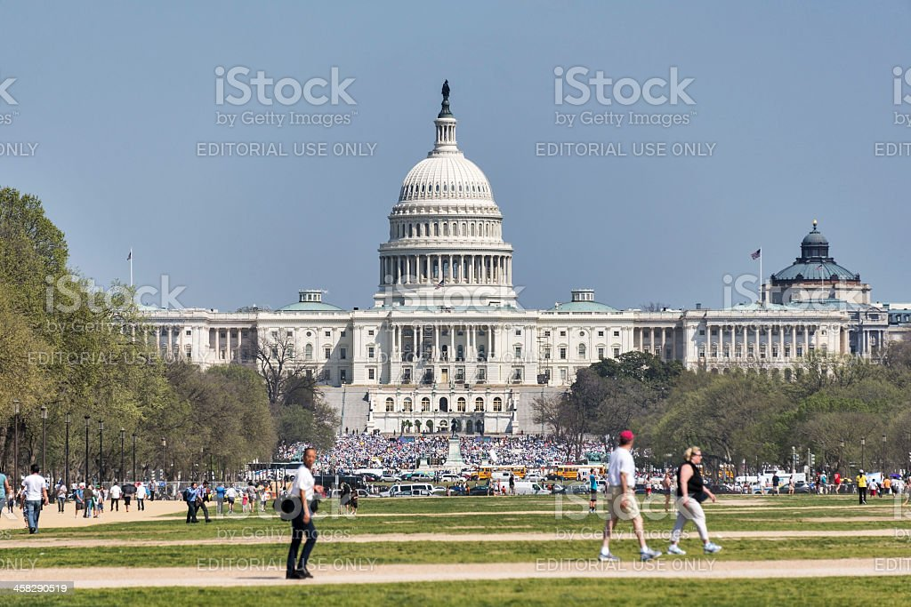 US Capitol during the Dream Act Immigration Reform Rally royalty-free stock photo