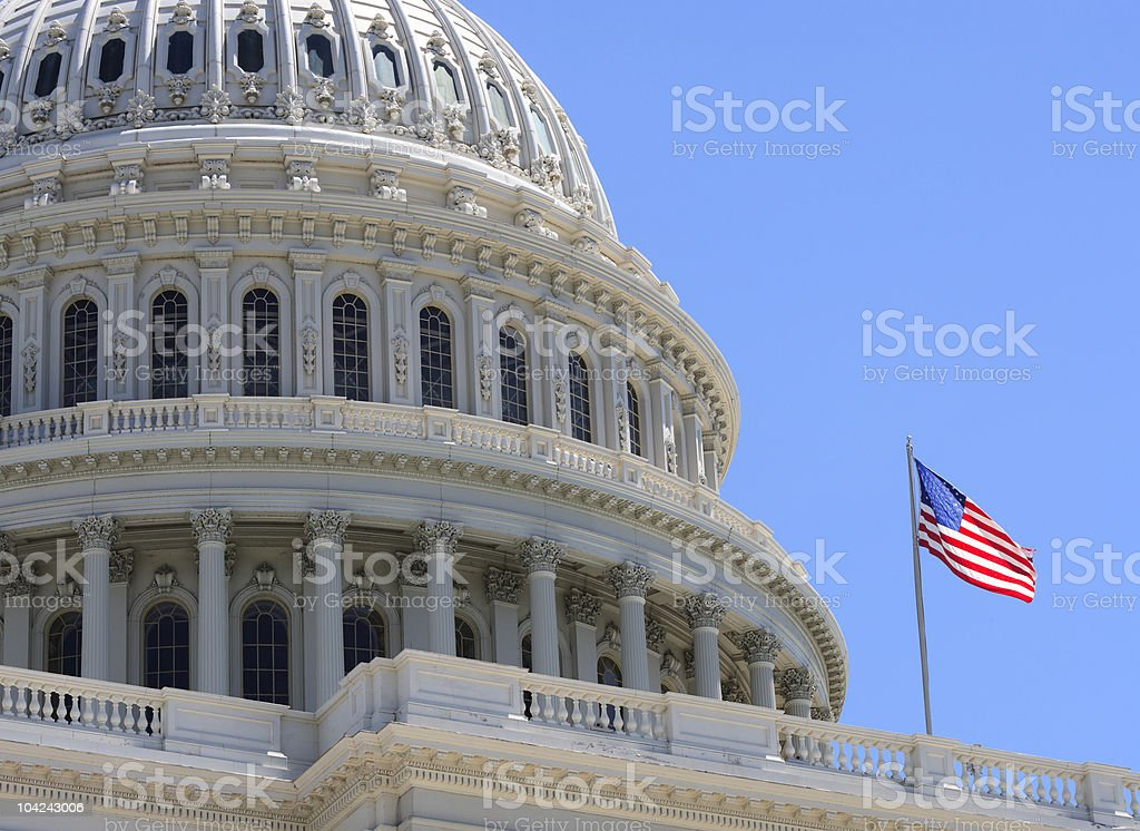 US Capitol Flag royalty-free stock photo