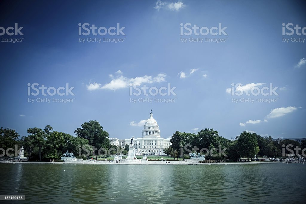 Capitol Hill and Reflecting Pool stock photo
