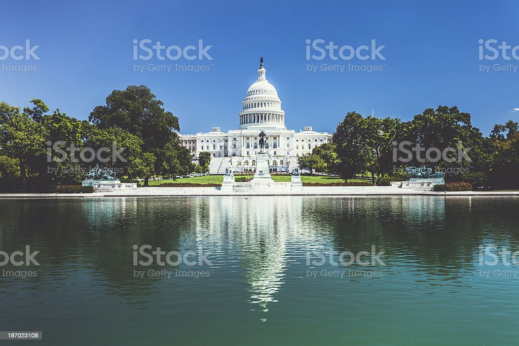 Capitol Hill Building Reflections in Washington D.C. royalty-free stock photo