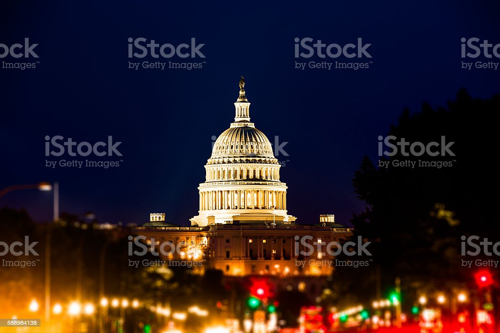 Capitol Hill from Constitution Avenue at Night, Washington D.C. stock photo