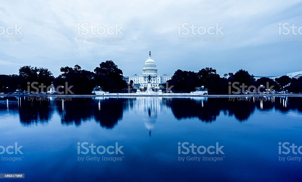 US Capitol Hill in Reflection stock photo