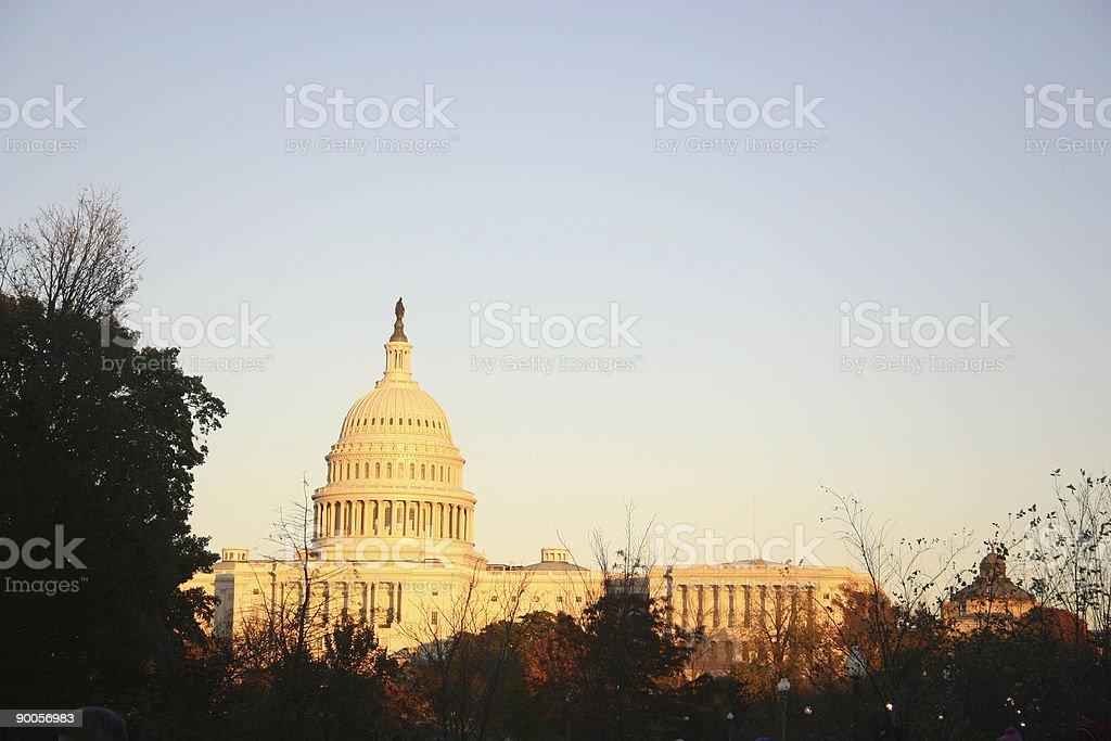 capitol in golden light stock photo