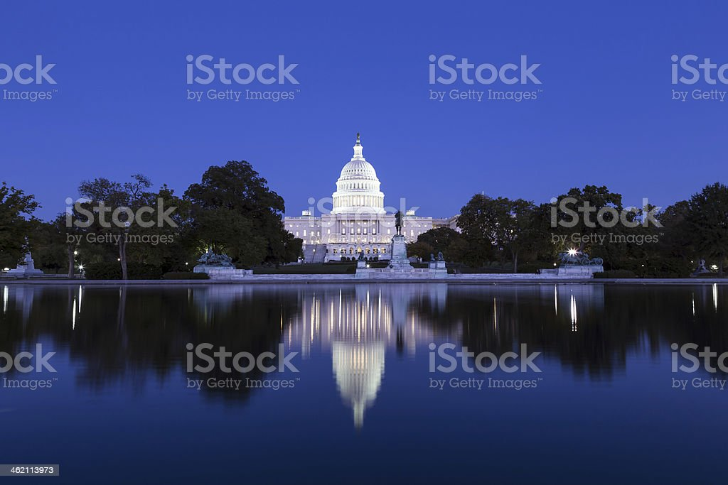 US Capitol in the dusk stock photo