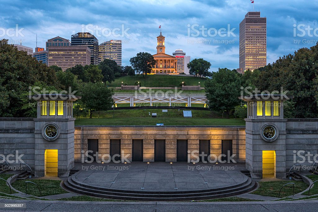 Capitol Nashville Tennessee 2014 from the Bicentennial Mall stock photo