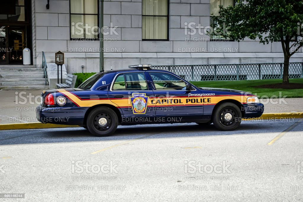 Capitol Police vehicle parking in downtown Harrisburg Pennsylvania  USA stock photo
