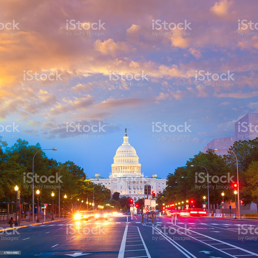 Capitol sunset Pennsylvania Ave Washington DC stock photo