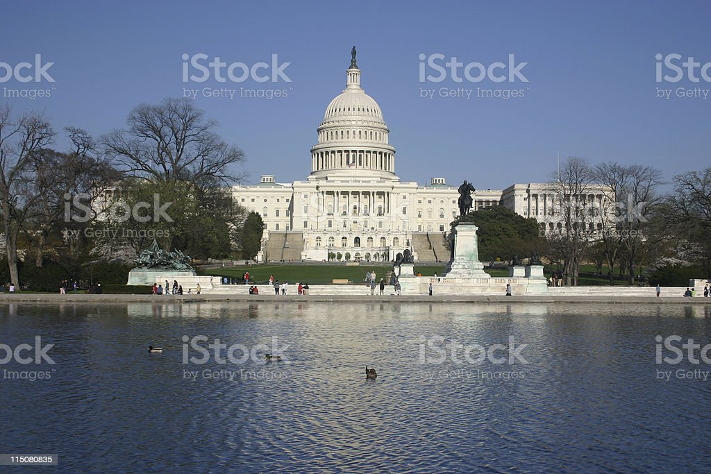 capitol with reflection stock photo