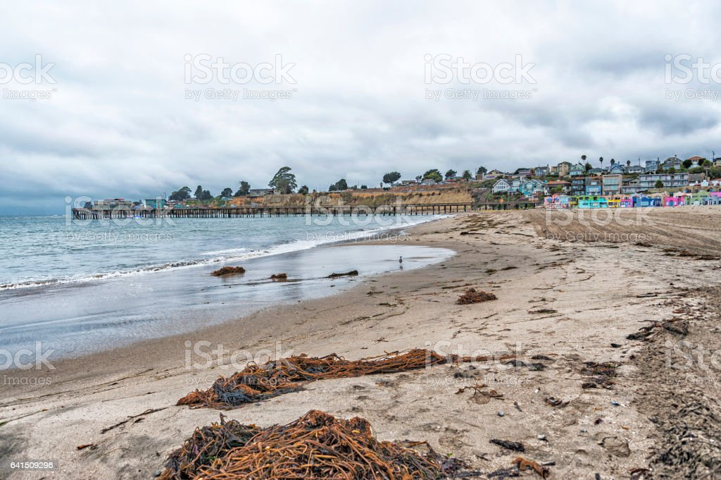 Capitola City Beach and Pier stock photo