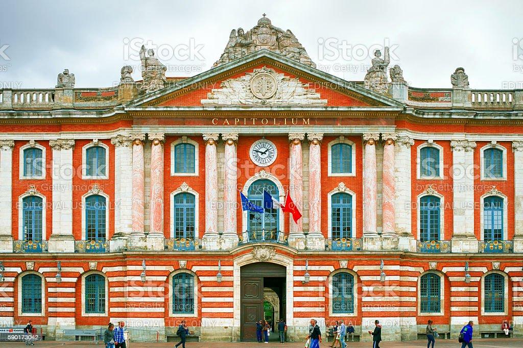 Capitole 135 meters long facade stock photo